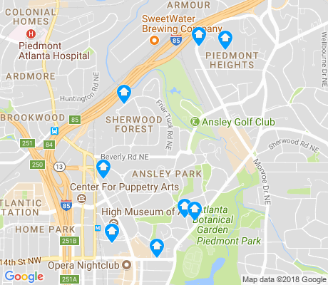 map of Ansley Park apartments for rent