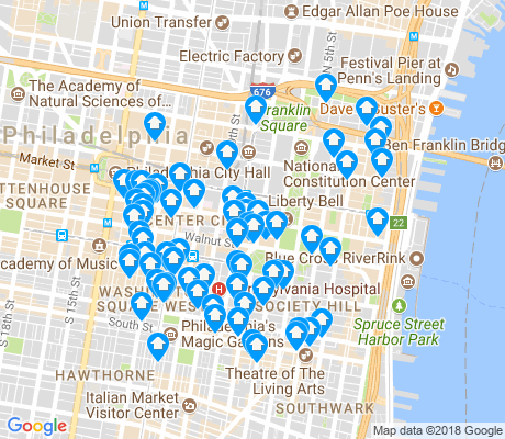 map of Center City East apartments for rent