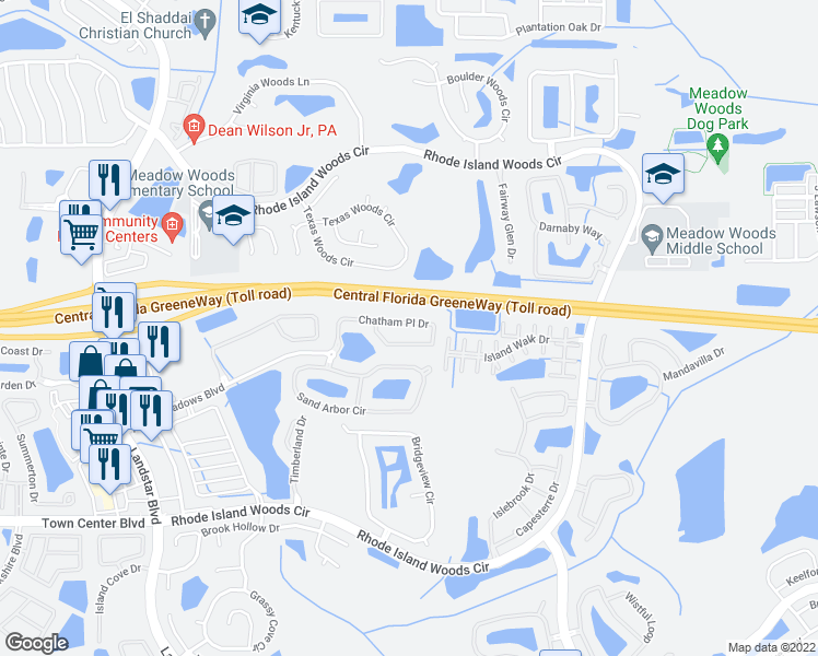 map of restaurants, bars, coffee shops, grocery stores, and more near 2034 Chatham Place Drive in Orlando