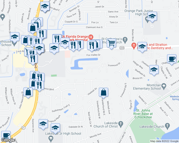 map of restaurants, bars, coffee shops, grocery stores, and more near 2444-2448 Foxwood Drive in Orange Park