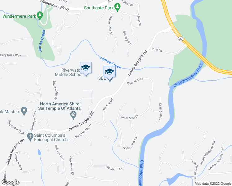 map of restaurants, bars, coffee shops, grocery stores, and more near 410 River Mist Drive in Suwanee