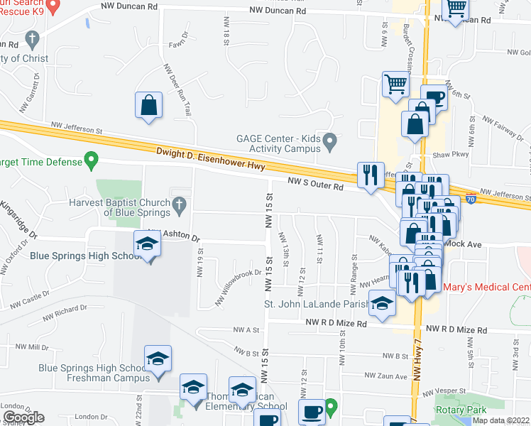 map of restaurants, bars, coffee shops, grocery stores, and more near 1014-1070 Northwest 15 Street in Blue Springs