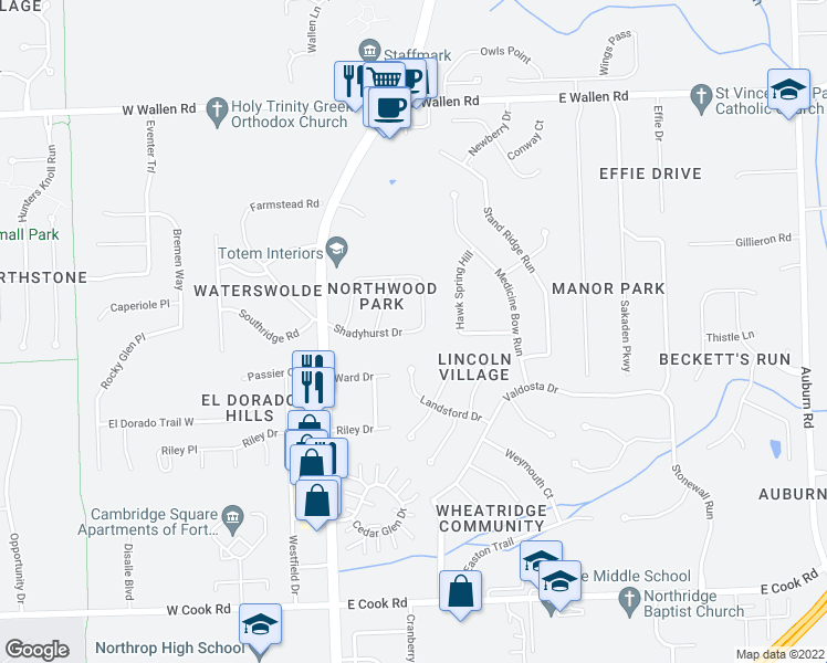 map of restaurants, bars, coffee shops, grocery stores, and more near Shadyhurst Drive in Fort Wayne