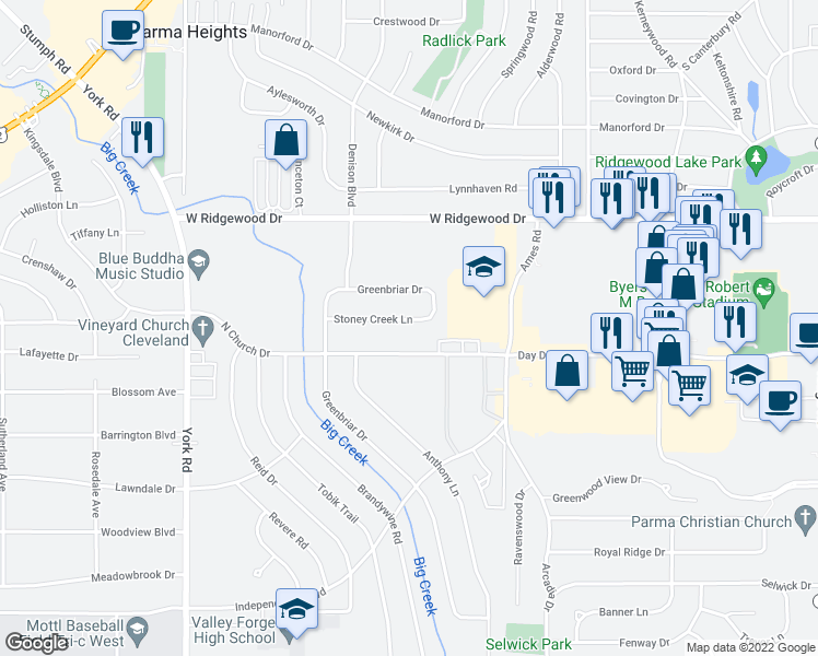 map of restaurants, bars, coffee shops, grocery stores, and more near 9401 Stoney Creek Lane in Parma Heights