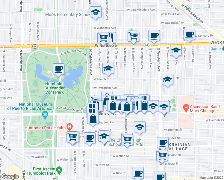 map of restaurants, bars, coffee shops, grocery stores, and more near 2649 West Evergreen Avenue in Chicago
