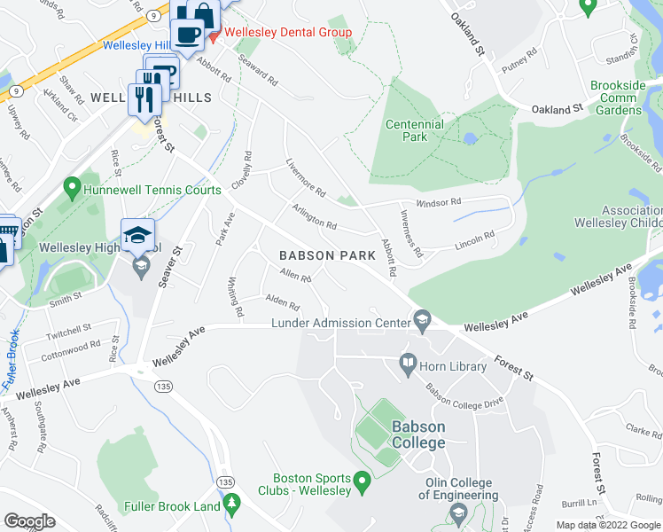 map of restaurants, bars, coffee shops, grocery stores, and more near 2 Clark Rd in Wellesley