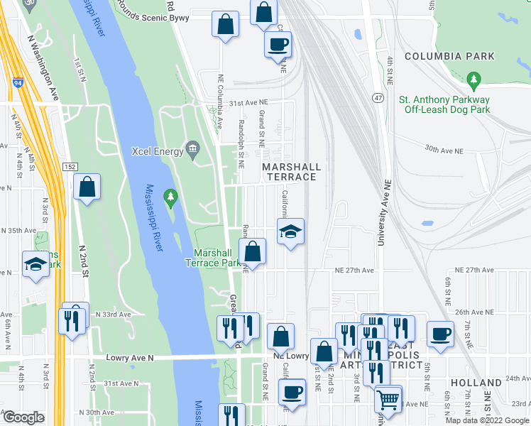 map of restaurants, bars, coffee shops, grocery stores, and more near 2843 NE Grand St in Minneapolis
