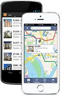 Mobile app apartment search screenshots on iPhone and Android device