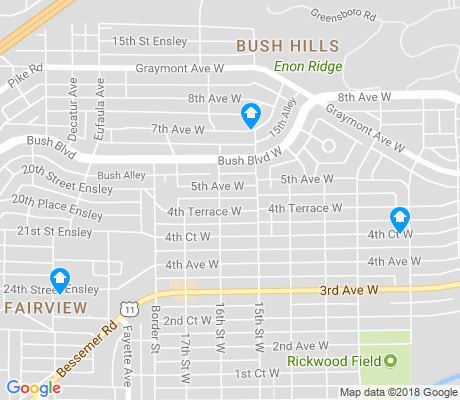 map of Bush Hills apartments for rent