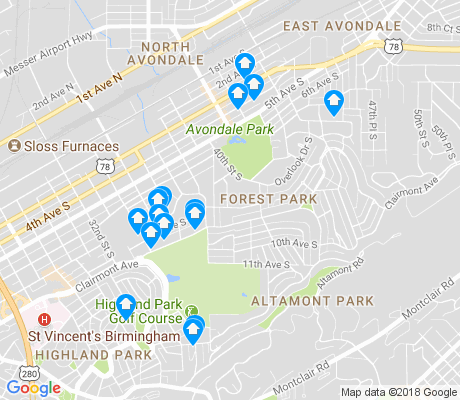 map of Forest Park apartments for rent