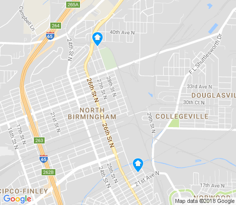 map of North Birmingham apartments for rent