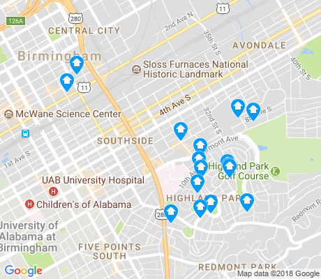 map of Southside apartments for rent
