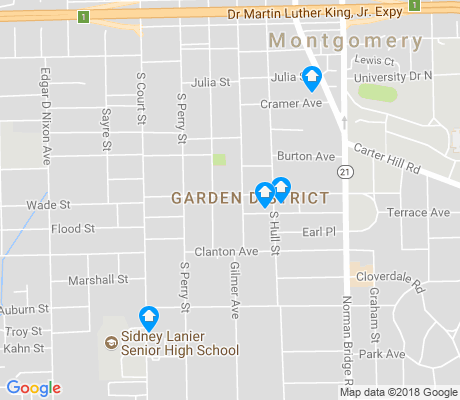 map of Garden District apartments for rent