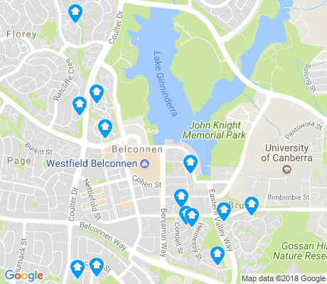 map of Belconnen apartments for rent