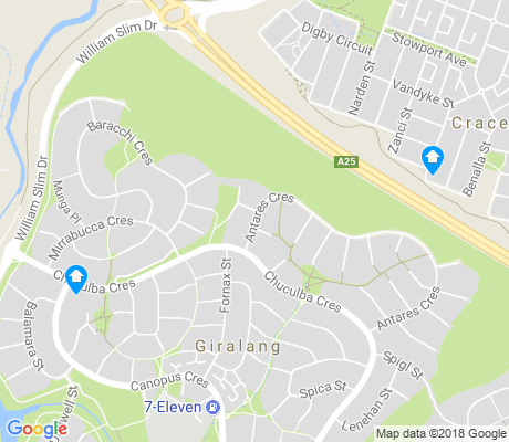 map of Giralang apartments for rent