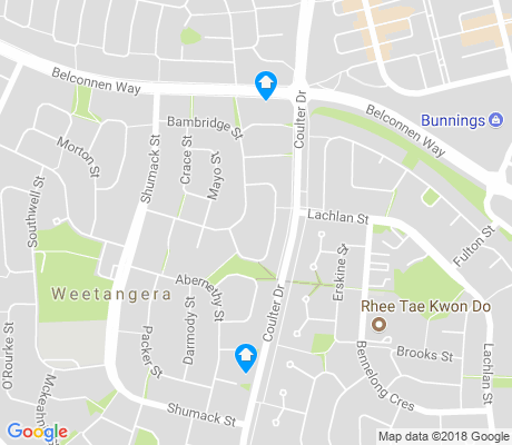 map of Weetangera apartments for rent