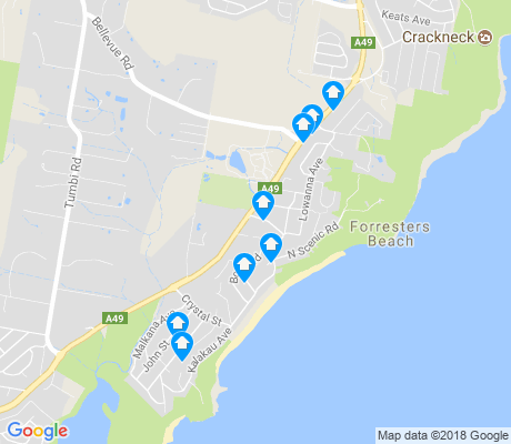 map of Forresters Beach apartments for rent