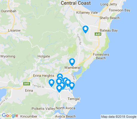 map of Wamberal apartments for rent