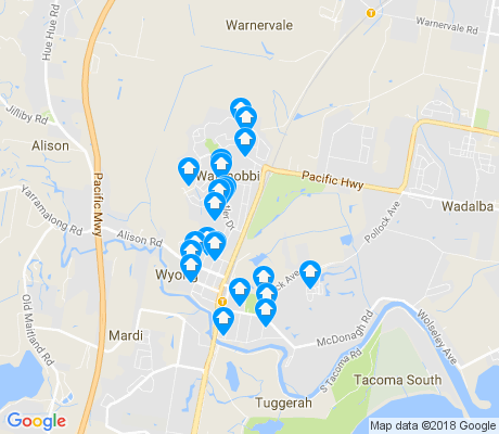 map of Wyong apartments for rent