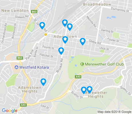 map of Adamstown apartments for rent
