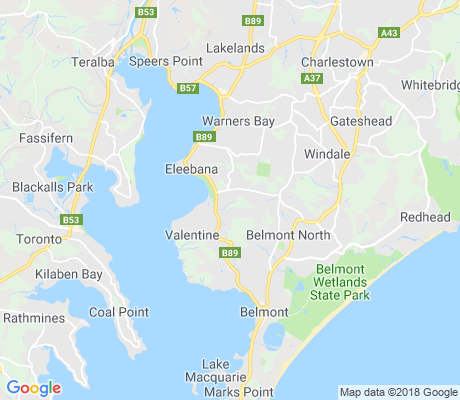 map of Croudace Bay apartments for rent