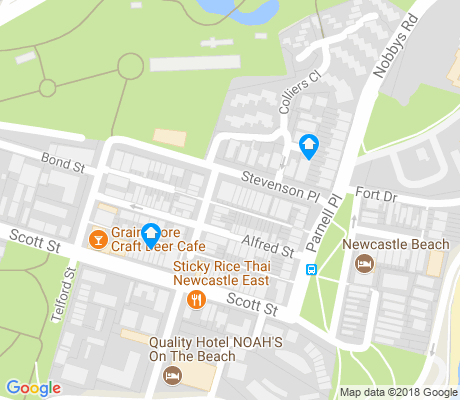 map of Newcastle East apartments for rent