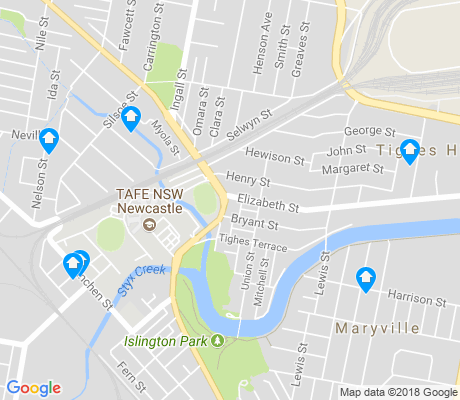 map of Tighes Hill apartments for rent