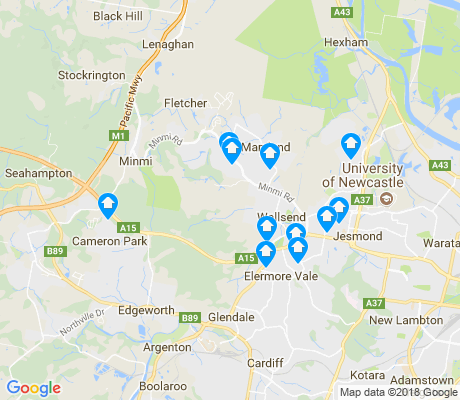 map of Wallsend apartments for rent
