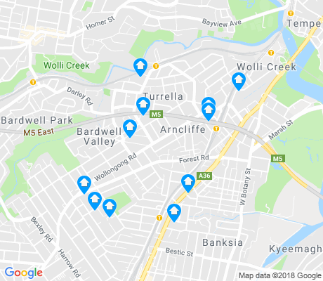 map of Arncliffe apartments for rent