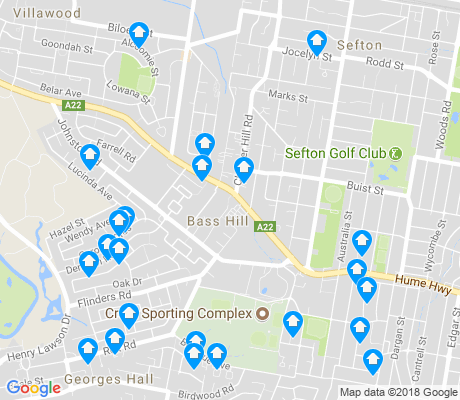 map of Bass Hill apartments for rent