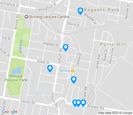 map of Birrong apartments for rent