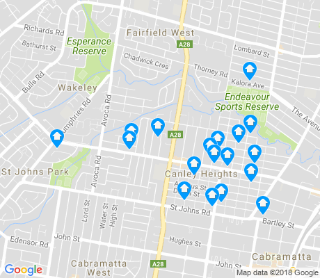 map of Canley Heights apartments for rent
