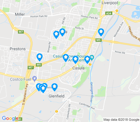 map of Casula apartments for rent