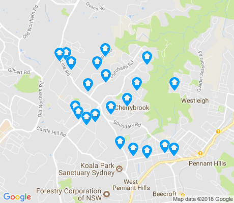 map of Cherrybrook apartments for rent