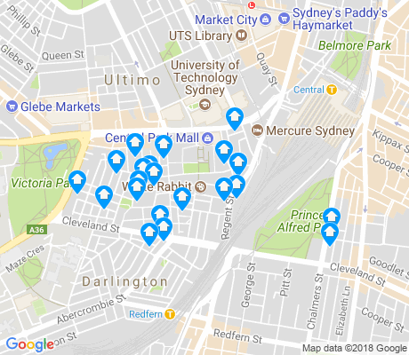 map of Chippendale apartments for rent