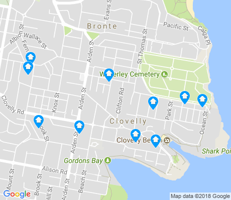 map of Clovelly apartments for rent