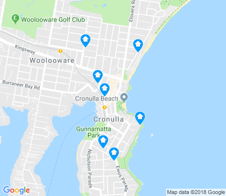 map of Cronulla apartments for rent