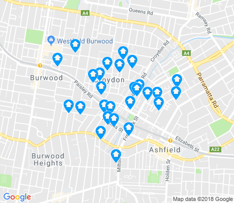 map of Croydon apartments for rent