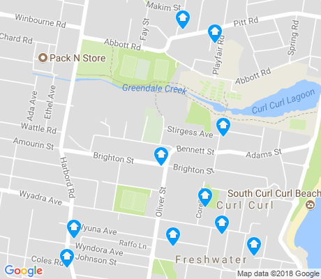 map of Curl Curl apartments for rent