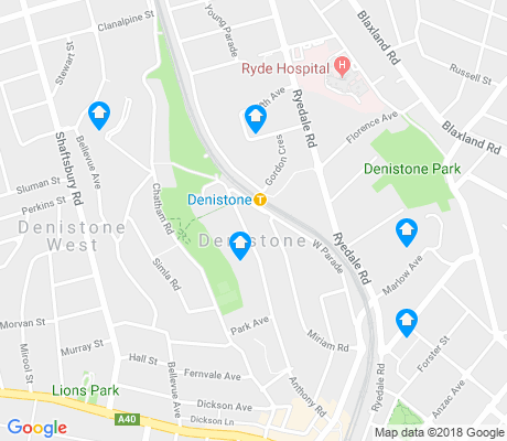 map of Denistone apartments for rent