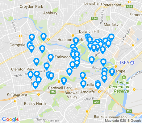 map of Earlwood apartments for rent