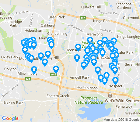 map of Eastern Creek apartments for rent
