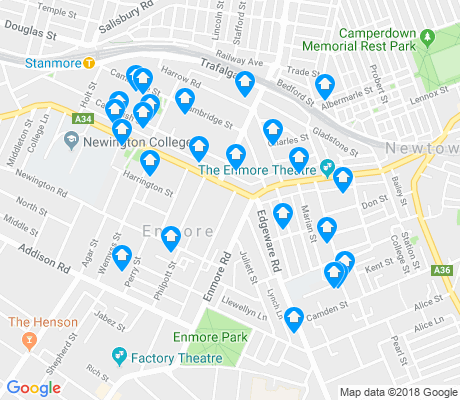map of Enmore apartments for rent