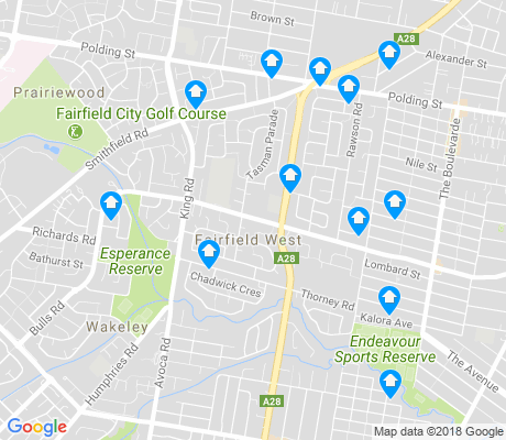 map of Fairfield West apartments for rent