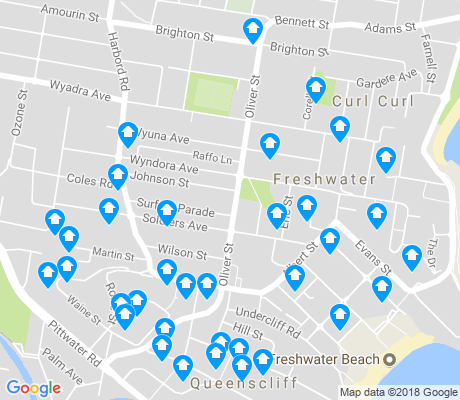 map of Freshwater apartments for rent