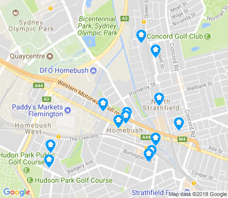 map of Homebush apartments for rent
