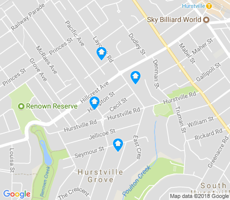 map of Hurstville Grove apartments for rent