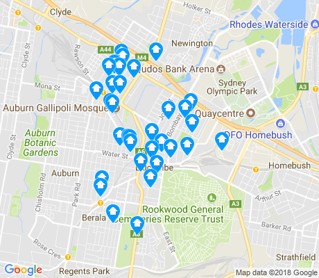 map of Lidcombe apartments for rent