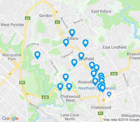 map of Lindfield apartments for rent