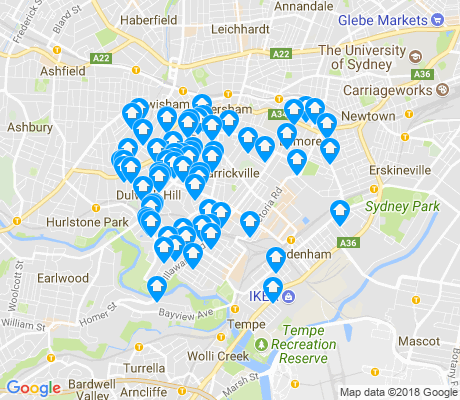 map of Marrickville apartments for rent
